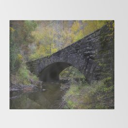 Laurel Creek Bridge - Autumn Colors Surround a Stone Bridge in Smoky Mountains Throw Blanket