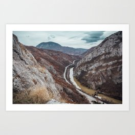 Beautiful photo of the canyon in Serbia, with river and the highway in the middle Art Print