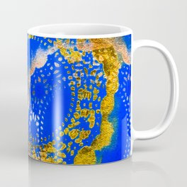 Royal Blue and Gold Abstract Lace Design Coffee Mug
