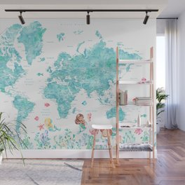 Watercolor world map with mermaids in aquamarine blue Wall Mural
