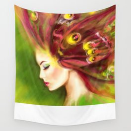 adb194949d Beautiful Spring Summer woman butterfly. Abstract illustration. Fantasy  Portrait Wall Tapestry