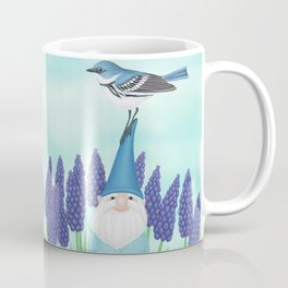 gnome with cerulean warbler and grape hyacinths Coffee Mug
