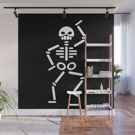 Dancing skeleton abstract drawing Wall Mural