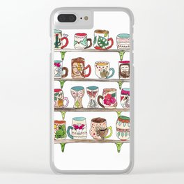 mugs on a shelf Clear iPhone Case