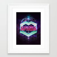 spires Framed Art Prints featuring Spires 80's Neon  by Spires