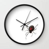 black widow Wall Clocks featuring Black Widow by Brazen Edwards