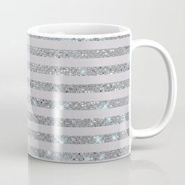 Silver Sparkle Stripes Coffee Mug