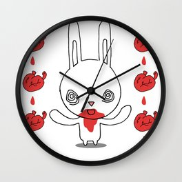 Heart Conjuring Bunny Rabbit - funny cartoon drawing with blood and magic! Wall Clock