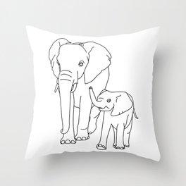 elephant cub Throw Pillow