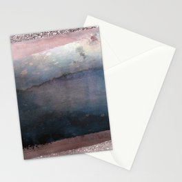 Rose Gold Blush Pink & Blue Watercolor Stationery Cards