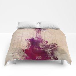 purple guitar Comforters