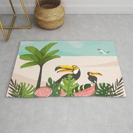 Tropical Bird Beach Rug