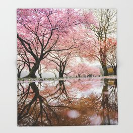 reflective cherry blossoms trees pink petals of flowers Throw Blanket