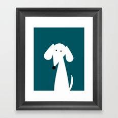 White Dachshund - Turquoise  Framed Art Print