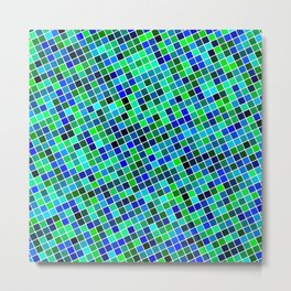 Multicolored Inclined Pixels Metal Print