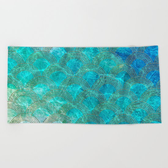 Sea Ocean Waves effect- Gold and Aqua Scales Pattern Beach Towel