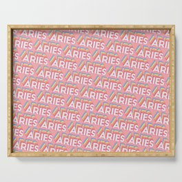 Aries Trendy Rainbow Text Pattern (Pink) Serving Tray