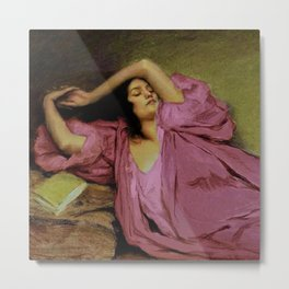 "Classical masterpiece ""Woman Stretching on Couch"" by Emile Victor Prouvé Metal Print"