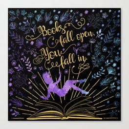 Books Fall Open - Gold Canvas Print