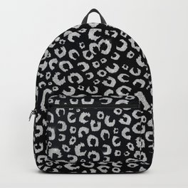 Elegant Black Silver Glitter Leopard Animal Print Backpack