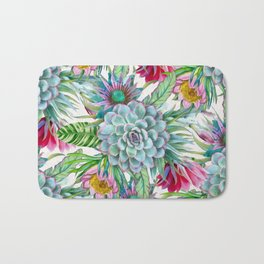Exotic flower garden Bath Mat