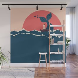 Whale and boat minimalist Wall Mural