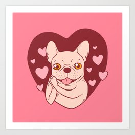 French Bulldog Sharing Love and Passion with All Her Heart Art Print