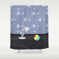 robert downey jr Shower Curtains featuring Luxo Jr. by avoid peril