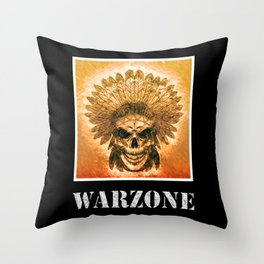 Warzone Native Indians Feather Headdress Fight War Throw Pillow