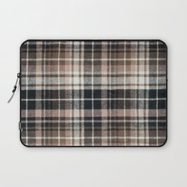 Plaid Fabric Print in Brown, Black, and White  Laptop Sleeve