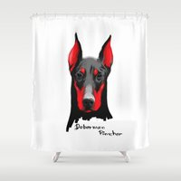 doberman Shower Curtains featuring Dobermann by Det Tidkun