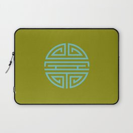 Shou Longevity In Green And Turquoise Laptop Sleeve