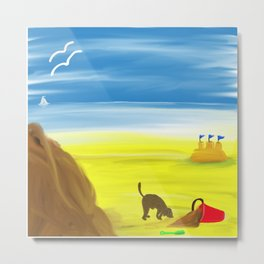 Treasure Hunt on the Beach Metal Print