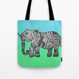 Elephant Lines on Watercolor Tote Bag