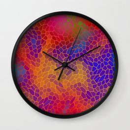 Volumetric texture of pieces of orange glass with a Iridescent mysterious mosaic. Wall Clock