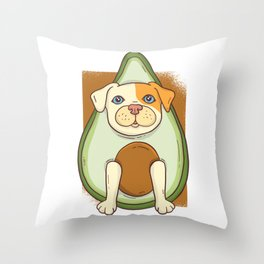 Avocado American Pit Bull Terrier Puppy Dog Throw Pillow