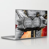warhammer Laptop & iPad Skins featuring Medieval knight with a warhammer by digital2real