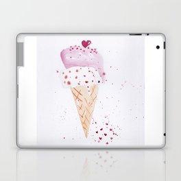 Ice cream Love watercolor illustration summer love pink strawberry Laptop & iPad Skin