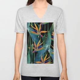 Watercolor Painting Tropical Bird of Paradise Plants large Unisex V-Neck