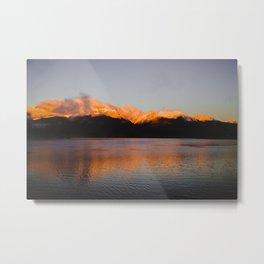 Sun Tipped Mountains Metal Print
