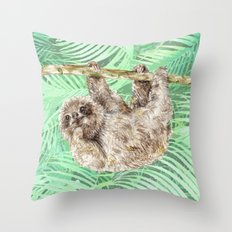 Let's hang out -- watercolor sloth Throw Pillow