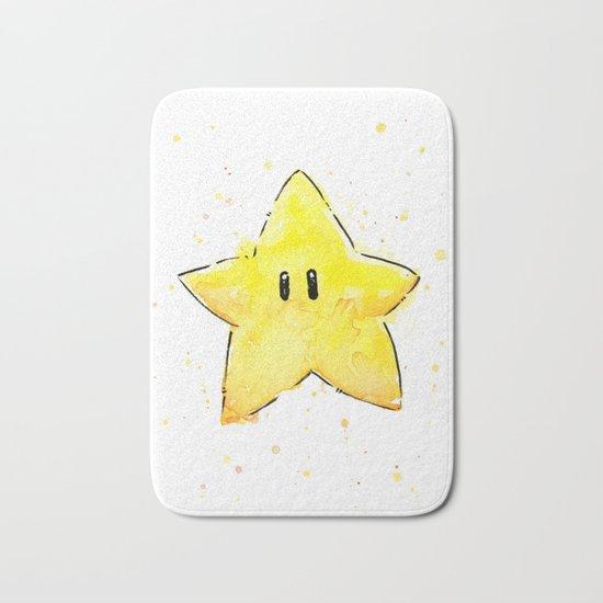 Invincibility Star Mario Watercolor Geek Gamer Art Bath Mat