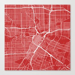 Houston Map, USA - Red Canvas Print