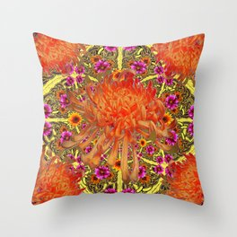 Colorful Decorative Orange Spider Mums Purple Floral Throw Pillow