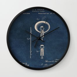 Electric lamp Edison patent art Wall Clock