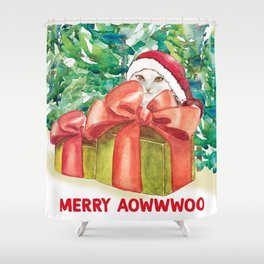 Xmas Gift for my Cat pet, cute funny animal cat Painting, Funny Merry Xmas Shower Curtain