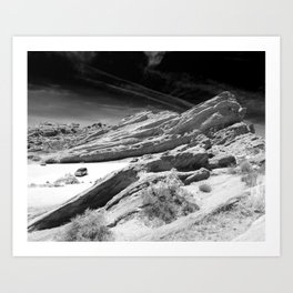 Vasquez Rocks in Agua Dulce, California - Black and White Art Print