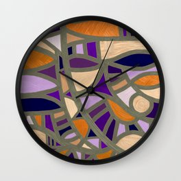 Gaudy Gaudi orange & purple Wall Clock