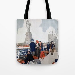 Vintage Immigrants & Statue of Liberty Illustration (1917) Tote Bag