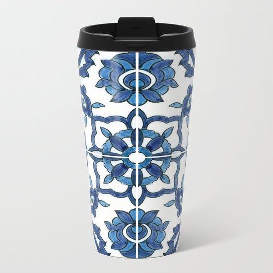 Blue Tile Metal Travel Mug